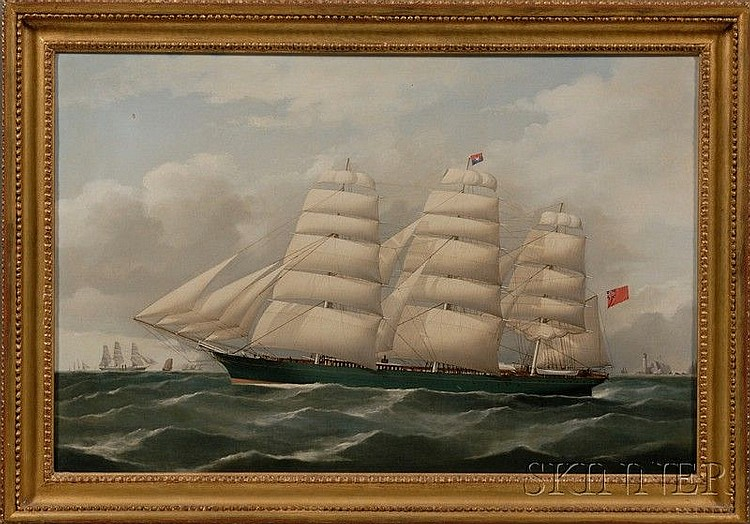 Frederick Tudgay (British, 1841-1921) Portrait of the British Clipper Ship Miltiades with Distant...