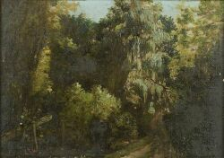 Charles T. Webber (American, 1825-1911), Path to the Woods, Initialed