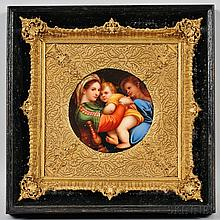 German Hand-painted Porcelain Plaque Depicting the Madonna della Seggiola, late 19th/early 20th century, after Raphael, unsigned, circu