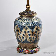Persian-style Porcelain Lamp Base, 19th & 20th century, bronze mounted with enamel decorated zodiac symbols to cap and surrounding foot