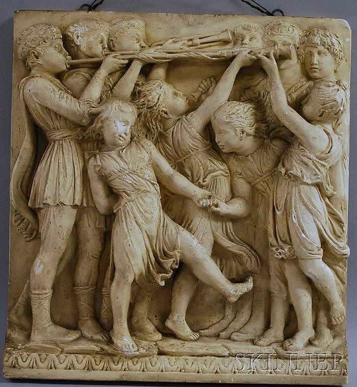 Plaster Cast, early 20th Century, after Luca Della Robbia (Italian, 1400-1482) Trumpeters with Dancing Children, from the Cantoria F...