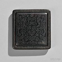 Portable Wood Seal Paste Case, China, near square with rounded corners, the case decorated with a meander band inlaid in silver around
