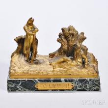 Millet, Aimee, (France, 1819-1891) Gilt Bronze Depiction of Napoleon, modeled in a field overlooking a fallen solider and titled C'est