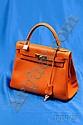 Orange Box Leather Kelly Bag, Hermes, the souple form with goldtone hardware, padlock and key, shoulder strap, 28 ...