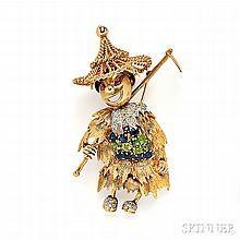 Whimsical 18kt Gold Gem-set Brooch, the figure with sun hat and hoe, body set with circular-cut sapphires and peridot, and diamond mele
