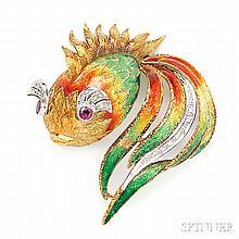 18kt Gold, Enamel, and Diamond Goldfish Brooch, Italy, the polychrome enamel body with circular-cut ruby eyes and single-cut diamond me
