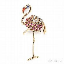 18kt Gold Gem-set Flamingo Brooch, France, with coral beak and sapphire eye, the body set with circular-cut rubies, and platinum and di