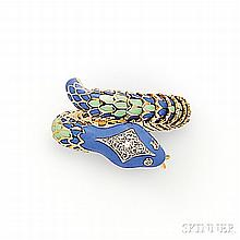 18kt Gold, Enamel, and Diamond Snake Ring, the flexible, enamel body with pave-set diamond accents, 11.2 dwt, approx. size 6 3/4, 7.