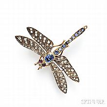 Antique Gem-set Dragonfly Brooch, France, with sapphire body and cabochon ruby eyes, rose-cut diamond wings, silver-topped 18kt gold mo