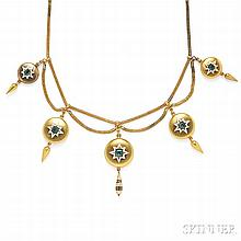 Antique Gold and Emerald Necklace, designed as five discs each centering an emerald within a white enamel star and suspending urn and b