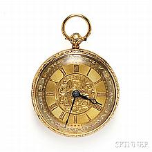 Antique 18kt Tricolor Gold Open Face Pocket Watch, London, 1839, the gold dial with Roman numeral indicators and floral and foliate mot