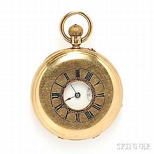 Antique 18kt Gold Demi-Hunting Case Pocket Watch, the white enamel dial with Roman numeral indicators and subsidiary seconds dial, stem