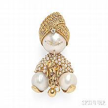 18kt Gold, Mabe Pearl, and Diamond Figural Brooch, designed as a turbaned figure smoking a hookah, the body set with pearls and diamond