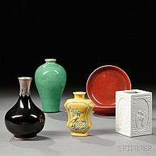 Six Monochrome Porcelain Items, China, a Meiping vase, decorated with leaf green glaze, ht. 7 3/4, a bottle vase with a mounted metal r