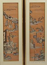 Pair of Kesi Panels, China, 19th/20th century, one panel woven with figures in a domestic scene, the other depicting an official and a