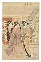 Eizan: Three Courtesans in Front of a Publishing House with a Large Image of Hoitei by the Door, c. 1810, (good impression and color an
