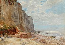EDMOND MARIE PETITJEAN (French, 1844-1925). FALAISES DANS LA MER DU NORD, signed lower right and titled verso. Oil on canvas.