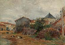 EDMOND MARIE PETITJEAN (French, 1844-1925). FERME DANS LES DEUX SEVRES, signed lower right and titled verso. Oil on canvas.