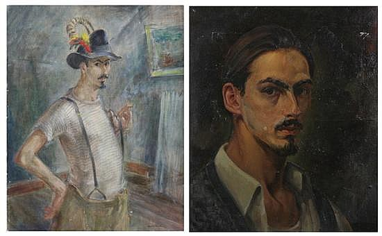HAROLD BLACK (American, b.1913). SELF PORTRAITS: TWO WORKS, each signed lower right, and titled on reverse. Oil on canvas.