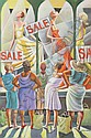 ERNIE BARNES (American, b. 1939). WINDOW SHOPPING, signed lower right. Oil on canvas., Ernie E. Barnes, Click for value