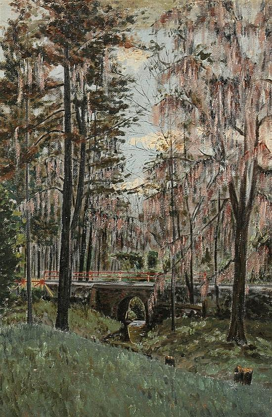 HERBERT HICKS (American, b. 1894). ROCK CREEK PARK, WASHINGTON, DC, signed and titled on reverse. Oil on canvas laid on board.