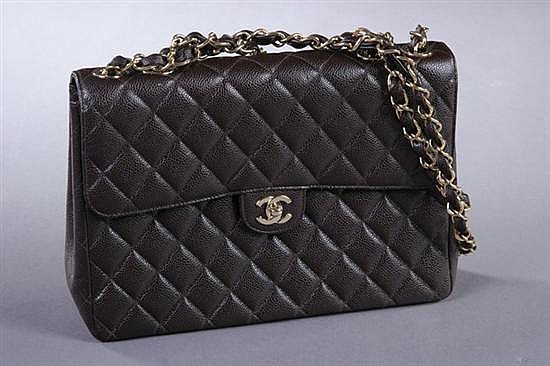 BROWN CHANEL HANDBAG WITH BOX, Chanel Carte d'authenticite 6748834. - 12 in. x 8 in. high x 3 1/2 in. deep.