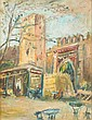 FRENCH SCHOOL (Early 20th century). MARKET STALLS AND TOWER OUTSIDE A WALLED TOWN, oil on canvas.
