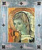 ITALIAN SCHOOL (mid-20th Century). A YOUNG FEMALE SAINT OR ANGEL WITH A GOLD HALO, signed illegibly,