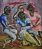 EDOUARD WAH (Haitian, 1938-2003). EVENING DANCE, signed lower right. Oil on canvas.