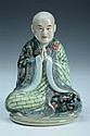 CHINESE FAMILLE ROSE PORCELAIN OF A MONK, Ye Yundeng impressed maker's mark, Republic Period. - 7 in. high.