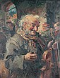 CLAY (Continental, 19th century). OLD MAN WITH VIOLIN, signed lower left. Oil on canvas.