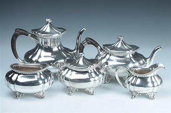 FIVE-PIECE PETER L. KRIDER & CO. STERLING SILVER TEA AND COFFEE SERVICE. Circa 1870-1903, Philadelphia; Retailed J. E. Caldwell & Co. -
