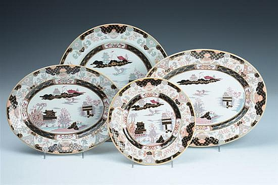 14 PIECES ASHWORTH BROS. IRONSTONE, Circa 1862; printed puce and impressed marks. - 10 in. diam., dinner plate.