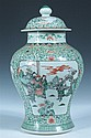 CHINESE FAMILLE VERTE PORCELAIN BALUSTER VASE AND COVER, 19th century. - 18 in. high.