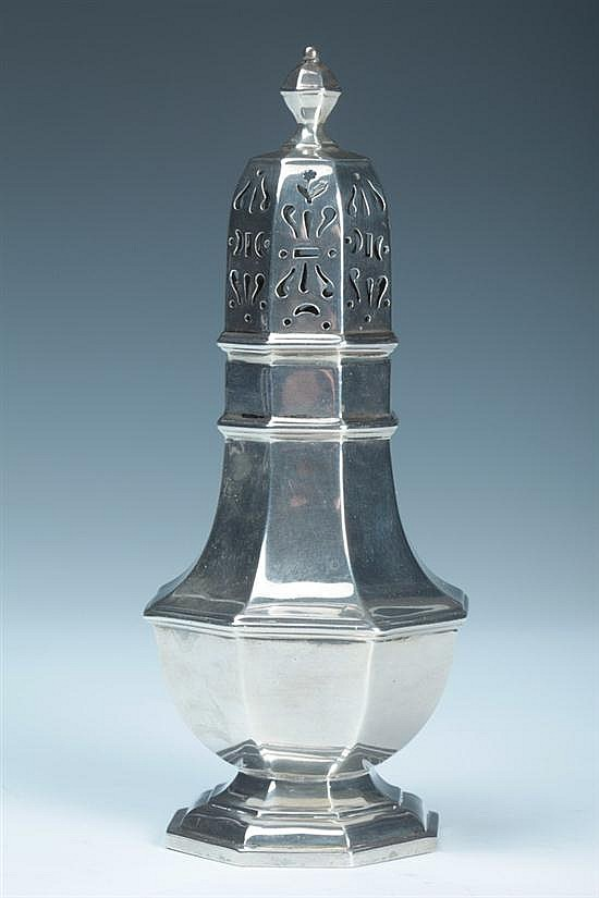 GEORGE V SILVER MUFFINEER, Asprey & Co., London, 1932. - 6 oz., 2 dwt.; 7 in. high.