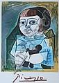 PABLO PICASSO (Spanish, 1881-1973). FEMME AU BUSTE EN COEUR and PALOMA EN BLEU: TWO WORKS, both bearing large facsimile signatures; num