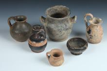 SIX PIECES GREEK TERRACOTTA. - Largest: 4 in. high.