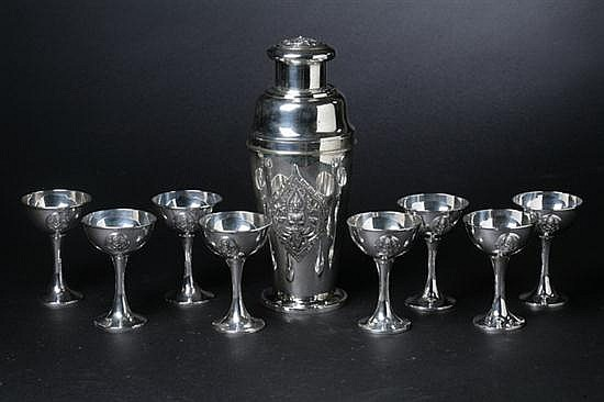 TEN-PIECE THAI STERLING SILVER PRESENTATION COCKTAIL SET, Thai Nakon Sterling Thailand mark. - 49 oz., 6 dwt.; 11 in. x 15 1/4 in., pla