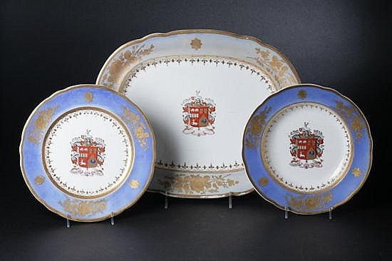 28 PIECES DAVENPORT LONGPORT STAFFORDSHIRE ARMORIAL PORCELAIN, Circa 1870-1887 printed mark. - 9 3/4 in. diam., dinner plate.