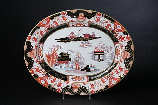 ASHWORTH & BROS. IRONSTONE SERVING PLATTER, Circa 1880; printed and impressed marks. - 10 1/2 in. x 13 1/4 in.