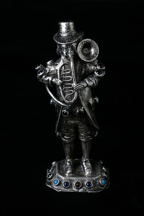 GERMAN SILVER FIGURE OF MUSICIAN, late 19th-early 20th century; Simon Rosenau, Bad Kissingen; Hanau pseudo marks; 800 silver standard.