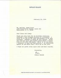 THREE TYPED RONALD REAGAN LETTERS TO JEANE AND JIMMY DIXON, SIGNED
