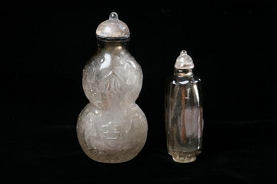 TWO CHINESE SMOKEY TOPAZ SNUFF BOTTLES.