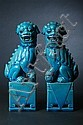 PAIR CHINESE TURQUOISE GLAZED PORCELAIN FIGURES OF FU DOGS. - 12 in. high.