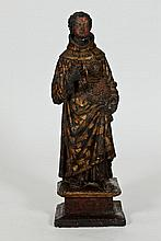 SPANISH COLONIAL TERRACOTTA FIGURE OF A SAINT. - 28 7/8