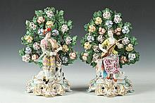 PAIR OF CHELSEA STYLE PORCELAIN SEATED FIGURES OF MAIDEN & LAD LUTE PLAYERS, Marked with gold anchor. - 10 3/8