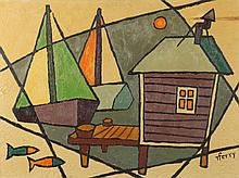 RAYMOND FERRY (American, 20th Century). BOAT HOUSE, signed lower left. Oil on canvas.
