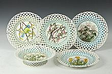 THIRTEEN PIECE ENGLISH PORCELAIN BOTANICAL & BIRD DESSERT SERVICE WITH RETICULATED BORDER, Late 19th century. Signed and dated. - Plate