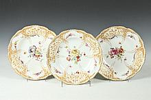 TEN KPM PORCELAIN BOTANICAL SOUP BOWLS. 19th Century, Marked underglaze with blue sceptre/KPM and red orb. Incised. - 9 13/16