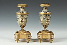 PAIR OF FRENCH GILT-BRONZE MOUNTED CHAMPLEVE ENAMEL CANDLESTICKS, Late 19th/Early 20th Century. Unmarked. - 7 3/4